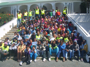 Learners from primary schools in Cape Town gathered in front of the Simon's Town Museum. They were treated to an educational programme, which formed part of Marine Month