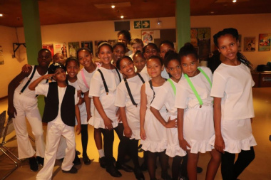 Learners from Robertson in the Green Room of the Baxter Theatre before going on stage for their performance