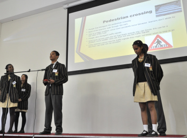 Learners from Spes Bona High School present their problem statement.