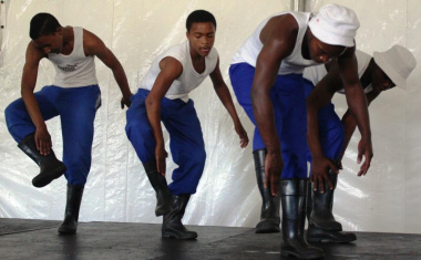 Learners from Villiersdorp High School performing a traditional gumboot dance.