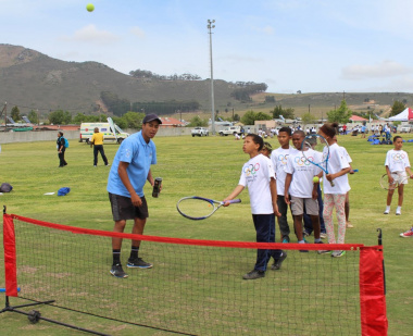 Learners received first-hand coaching in the game of tennis.