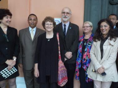 Dr Ronee Robinson, Minister Ivan Meyer, Dr Janette Deacon, Mr Andrew Hall, Denise Crous, Rooksana Omar and Bongani Ndhlovu.
