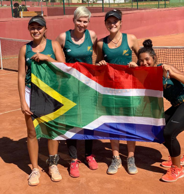 Leigh van Zyl (first left) represented South Africa at the Junior Fed Cup