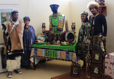 Library staff donning their traditional African wear.