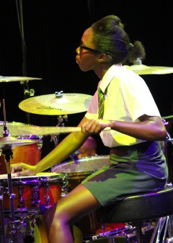 'Little Drummer Girl' 17 year old Tholakele Lolwana from the Langa School's Music Project on drums