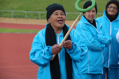 Louisa Nicholson of Kraaifontein has her eye on the ring and stick.