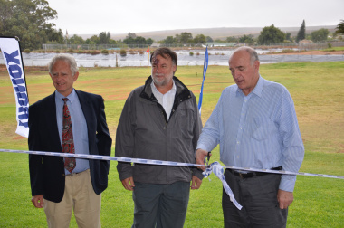 Lars Starke:Department of Transport and Public Works, David Southy:Tronox and Minister Robin Carlisle cut the ribbon.