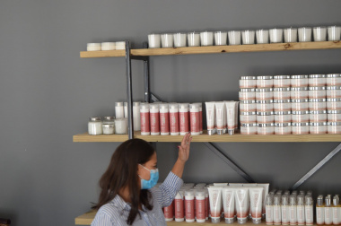 Marice showing her product range