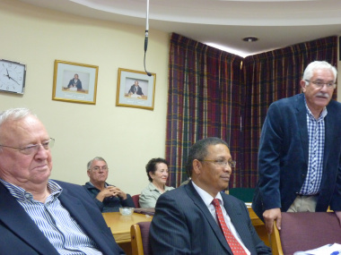 Executive Mayor of Theewaterskloof, Alderman Chris Punt, Minister Meyer and Municipal Manager, Stan Wallace addressing Council.