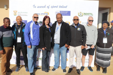Mayor Christelle Vosloo, Cllr Ronald Brinkhuys and Dr Lyndon Bouah with key roleplayers at the opening of the Overberg RSDP Games
