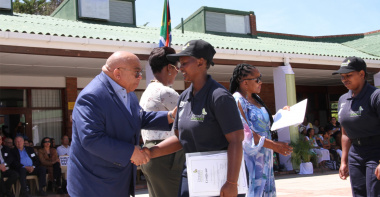 MEC for Social Development, Albert Fritz (far left) and MEC Nomafrench Mbombo handed out the certificates to the 193 graduates during the Chrysalis Academy Graduation.