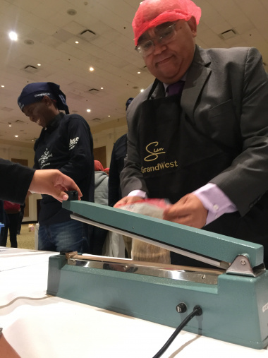 MEC Fritz busy packing a meal bag