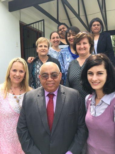 MEC Fritz flanked by department & NGO human trafficking shelter experts