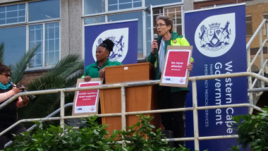 The Western Cape Minister of Health, Dr Nomafrench Mbombo, with Dr Beth Engelbrecht, Head of Health, at the launch of Operation Khuseleka, a staff safety initiative.