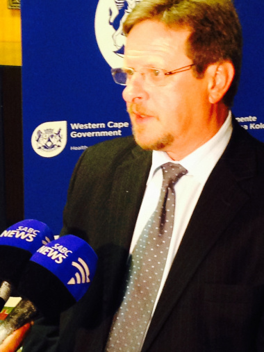 Western Cape Minister of Health,Theuns Botha, briefs the media during the Tygerberg Hospital Redevelopment Project media conference.