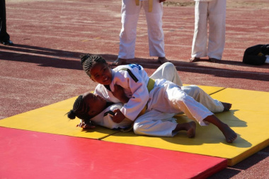 Members of Boland Judo show off their skills at the opening of the district sport academy