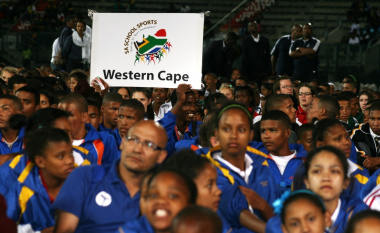 Members of Team Western Cape proudly display their colours at the Lucas Moripe Stadium.