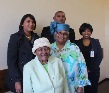From back left: Rose Parent Valecia De Beer Swano, who cares for six Rose patients Vincent Weeder, Social Work Supervisor and Estelle Silence, Social Worker Manager from Lentegeur Hospital. Saartije, a Rose patient who has been cared for by Aletta Exford.