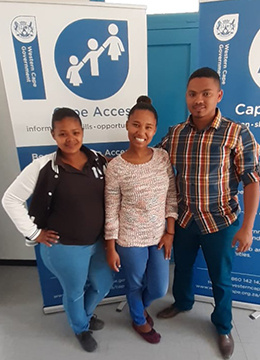 The Merweville e-Centre staff is ready to assist visitors at any time. From left is Development Manager Mary-Ann Voster, the PAY Intern Anquenic Devenish and former e-Centre manager Gradwell Ben.
