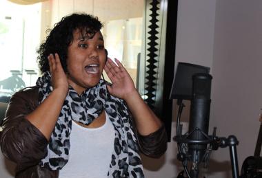 Michaela recording her demo album at Red Bull Studios.