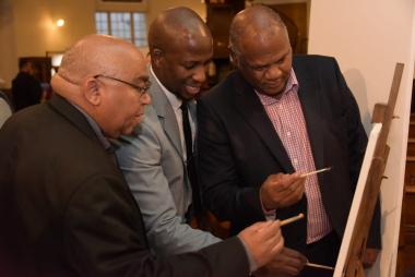 Minister Albert Fritz, Mduduzi Dube and Mayor Dan Plato