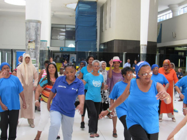 Minister and Senior citizens exercising