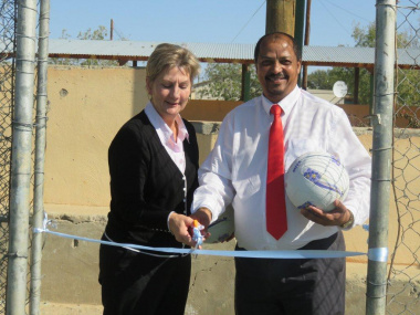 Minister Anroux Marais and Mayor Goliath Lottering open the tennis court facility