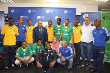 Minister Anroux Marais and Minister Albert Fritz with the SA Homeless World Cup Soccer Team.