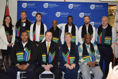 Minister Anroux Marais and some of the WC Olympians for Rio 2016