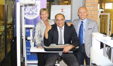 Minister Anroux Marais, Cape Agulhas Municipality Mayor Paul Swart and Overberg District Municipality Mayor Andries Franken officially opened the new gym at Glaskasteel Sports Complex
