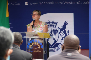 Minister Anroux Marais delivers the keynote address at the unveiling ceremoney of the Princess Vlei Provincial Heritage site plaque.