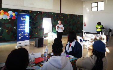 Minister Anroux Marais speaks at the YeBo Youth camp