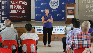 Minister Anroux Marais speaks at the launch of the Oral History Initiative in Wupperthal