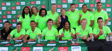 Minister Anroux Marais, the Blitzbokke and Wayde Van Niekerk at the V&A Waterfront.