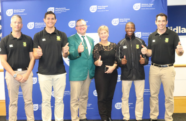 Minister Anroux Marais wishes players well ahead of the 2018 IIHF Ice Hockey World Championship Division III that will be hosted at the Grand West Arena