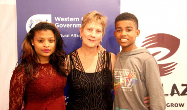Minister Anroux Marais with Llewellyn Bond and Brutney Singrew from Team Explosive