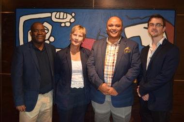 Minister Anroux Marais with Mxolisi Dlamuka, Guy Redman and Michael Janse van Rensburg at the Museum Symposium in Cape Town