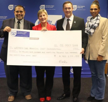 Minister Anroux Marais with Paul Hendricks, JP Naude and Crystal Pather at the handover ceremony to WCPSC at the DCAS head office