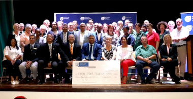 Minister Anroux Marais with representatives of Federations in the Eden District who received funding