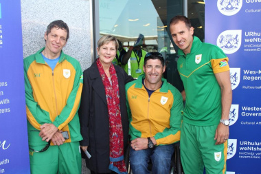 Minister Anroux Marais with some of the Paralympians who will be competing in Rio 2016