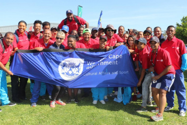 Minister Anroux Marais with Team DCAS who won netball, Fun Walk and Fun Run at the Overberg BTG