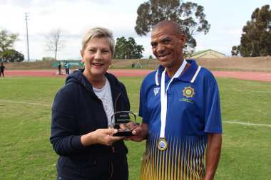 Minister Anroux Marais with Willie Engelbrect, 2.5km fun walk winner at Cape Winelands BTG