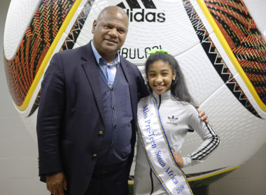 Minister Dan Plato with Keegan Lee Croy, Miss Pre-Teen South Africa from Hanover Park at the Life Counts Launch.