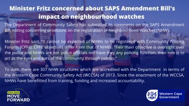 Minister Fritz concerned about neighbourhood watch amendments in SAPS Amendment Bill