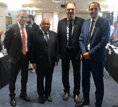 Minister Fritz with Bavarian police officials Mr Wolfgang Sommer, Mr Günter Okon and Mr Bernhard Egger