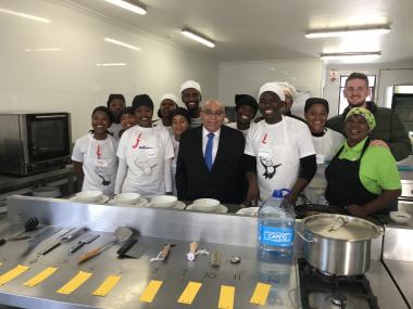 Minister Fritz with hospitality learners