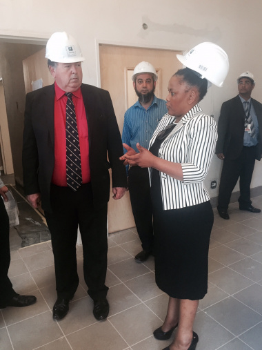 Minister Grant and Minister Mbombo at the site of the New Psych Building.
