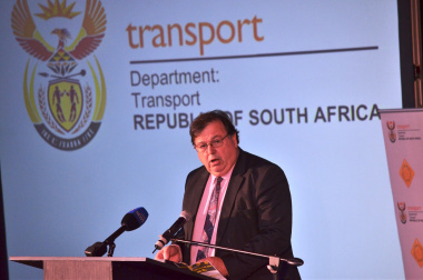 Minister Grant delivering an address at the second National Road Safety Summit in Cape Town.