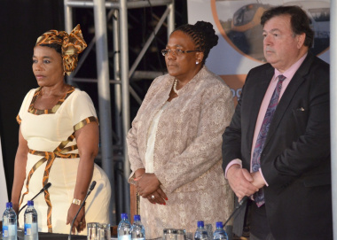 Minister Grant with Ms Sindisiwe Chikunga, Deputy Minister of Transport and Ms Dipuo Peters,  Minister of Transport.