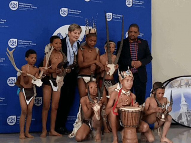 Minister Marais and Beaufort West Municipal Manager with the Khoisan Dancers from Restvale Primary School